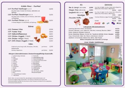 Kiddie Menu, Extras, Soßen, Eis & Getränke